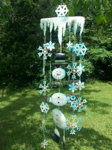 snowman seasonal wind chime