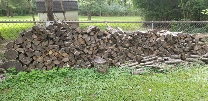 fire wood stack in yard
