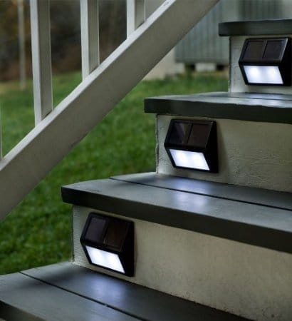 Solar step lights set of four Bronze Fixtures