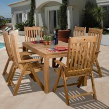 Wooden Outdoor Table and Chairs-Teak Dining Table and Chairs