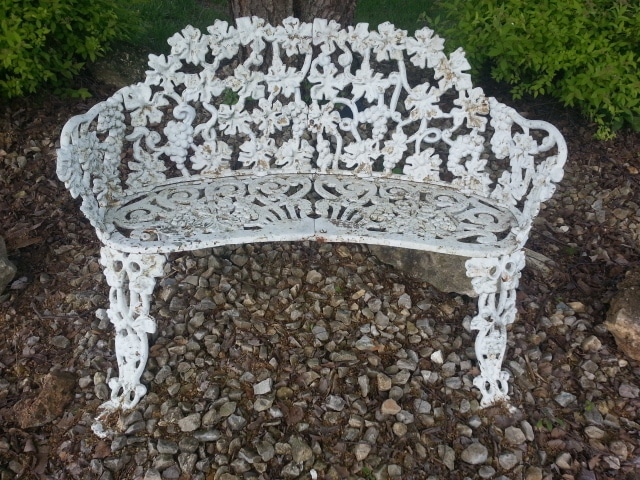 White Metal Patio Bench