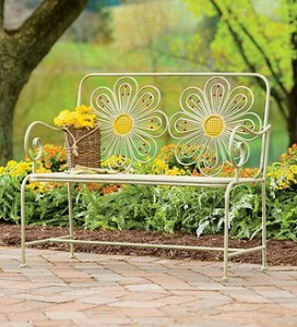 Metal Flower Bench