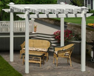 White Vinyl Portland Pergola Kit with conversation set