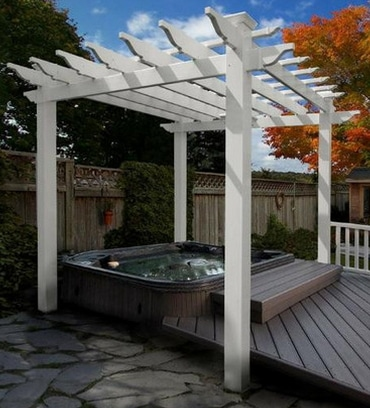 Whit Vinyl Portland Pergola Kit with Hot Tub