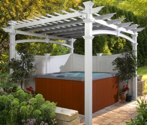White Vinyl Venetian Pergola Kit with Hot Tub