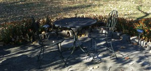 Bistro Table with Two Metal Arm Chairs