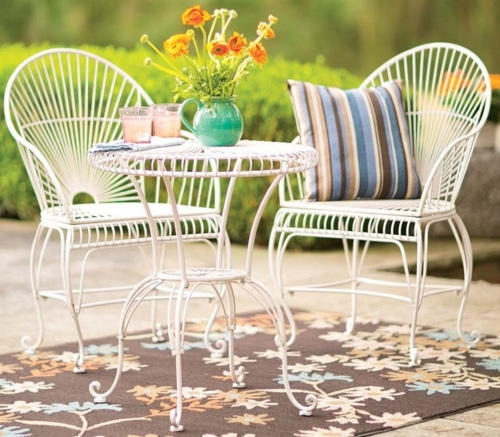 Four Metal Outdoor Bistro Table and Chairs in sets