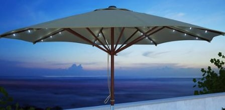 Wooden Solar Lighted Umbrella
