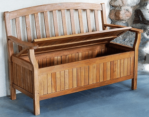 Eucalyptus Outdoor Patio Bench with storage