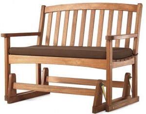 Garden Furniture with Swing Seat-Eucalyptus Wood Outdoor Love Seat Glider