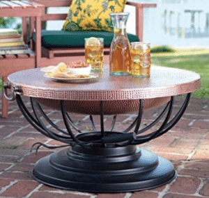 Hammered Copper Lidded Fire Pit
