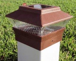 Solar Wood Grain Vinyl Post Top Light