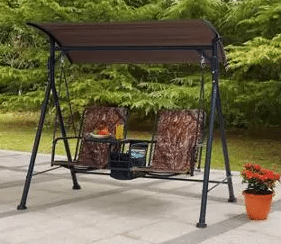 Garden Furniture with Swing Seat-2 person Camo Swing with Canopy