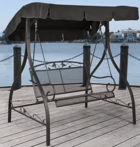 Jefferson Wrought Iron Swing with Canopy