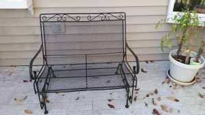 Garden Furniture with Swing Seat-Metal Bench Glider on a deck