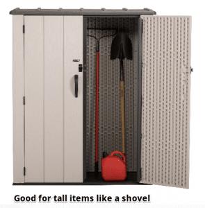 Lifetime Vertical Storage Shed with door open