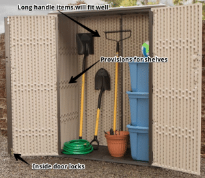 Lifetime vertical storage shed accessories