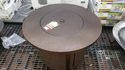 Colebrook Gas Fire Pit with bowl cover on