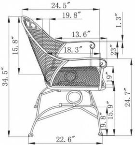 Clayton Court Chair dimensions
