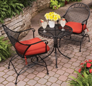 Clayton Court Patio table and 2 chairs Bistro Wrought Iron Outdoor Furniture Sets