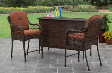 Azalea Ridge Brown resin wicker bar set