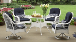 Wicker patio furniture sets-Azalea Ridge white resin wicker dining set