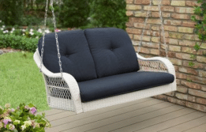 Wicker patio furniture sets-Azalea Ridge white resin wicker porch swing