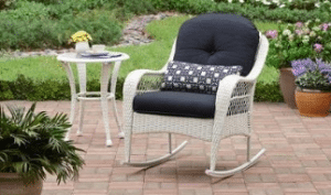 Azalea Ridge white resin wicker rocker