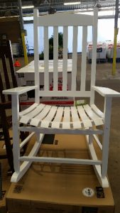 White Mainstays wooden outdoor rocking chair review