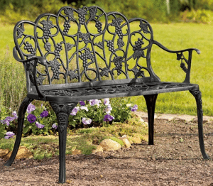 Grape vine metal garden bench