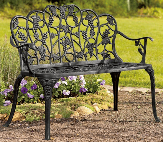 Five patio or garden metal benches