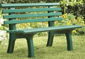 Green resin garden bench