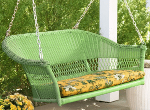 Lime green Easy Care resin wicker porch swing