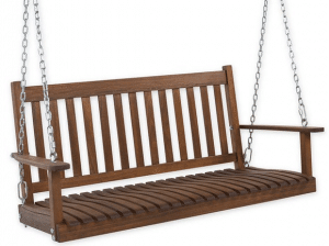 Natural stain slatted wood porch swing