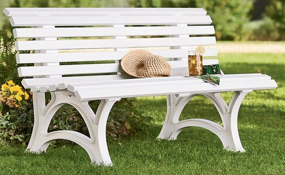 White resin garden bench