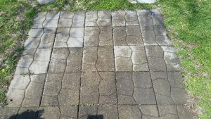 Square patio stone pavers with pattern