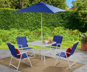 Mainstays Albany Lane 6 piece patio dining set blue