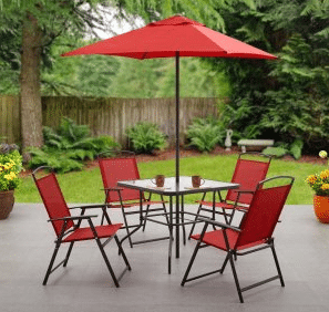 Mainstays Albany Lane 6 piece patio dining set red