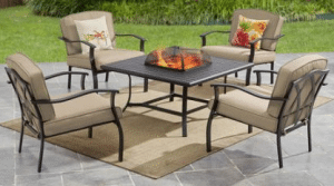 Mainstays Belden Park fire pit table with chairs