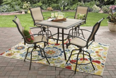 High tile top patio table and four swivel chairs