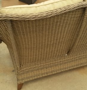 Back of love seat Camrose Farmhouse collection