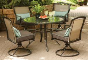 Aqua Glass Aluminum outdoor dining set