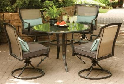 Aqua Glass aluminum patio dining set