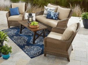 BH & G Camrose Farmhouse conversation resin wicker patio furniture