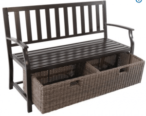 BH & G Camrose Farmhouse metal bench with wicker storage box