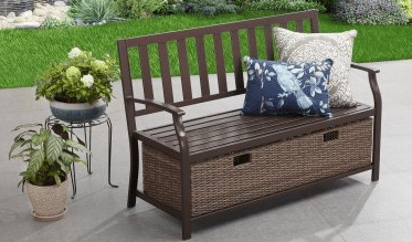 Camrose Farmhouse storage bench with wicker baskets