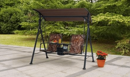 Ozark Trail patio swing with table and canopy