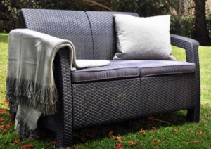 Keter Corfu outdoor resin wicker loveseat charcoal