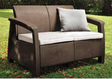 Keter Corfu outdoor resin wicker loveseat