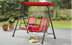 Ozark Trail Big and Tall patio swing with table and canopy